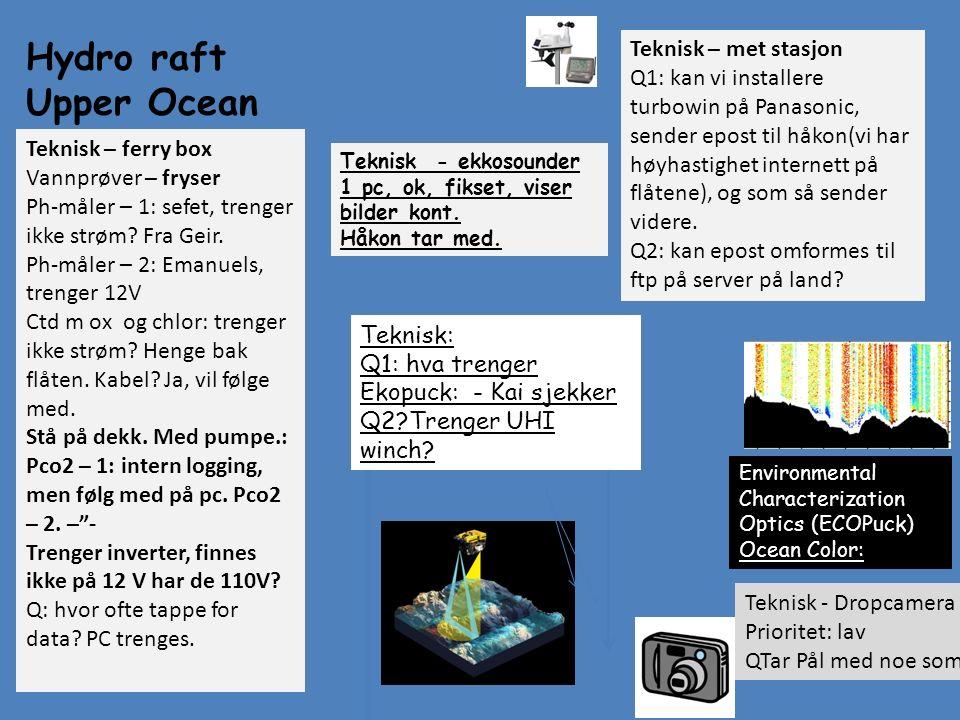 Hydro raft Upper Ocean UHI Imaging Environmental Characterization Optics (ECOPuck) Ocean Color: Teknisk: Q1: hva trenger Ekopuck: - Kai sjekker Q2?Tre