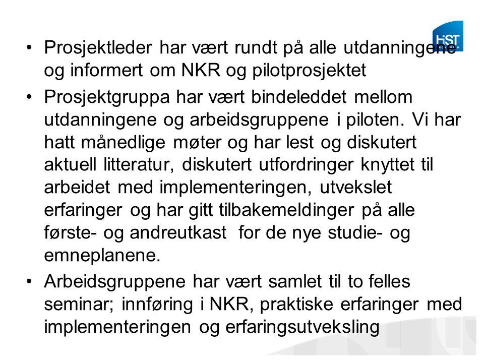 Prosjektleder har vært rundt på alle utdanningene og informert om NKR og pilotprosjektet Prosjektgruppa har vært bindeleddet mellom utdanningene og arbeidsgruppene i piloten.