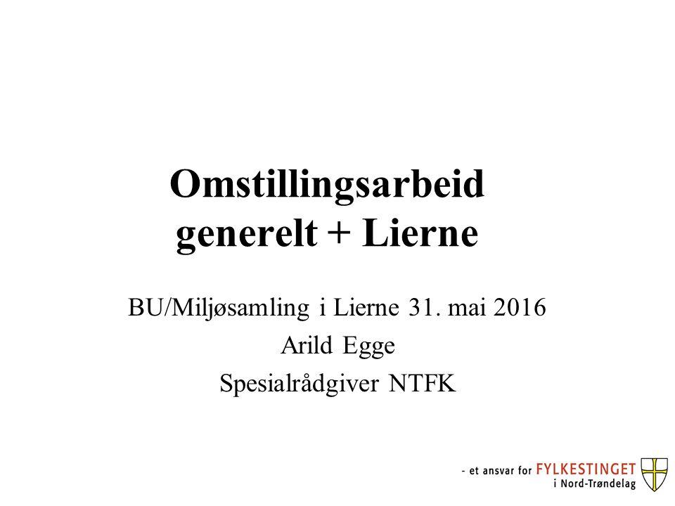 Omstillingsarbeid generelt + Lierne BU/Miljøsamling i Lierne 31. mai 2016 Arild Egge Spesialrådgiver NTFK