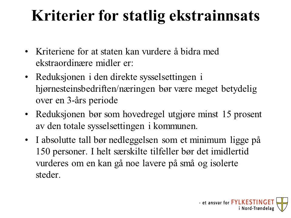 Kriterier for statlig ekstrainnsats Kriteriene for at staten kan vurdere å bidra med ekstraordinære midler er: Reduksjonen i den direkte sysselsetting