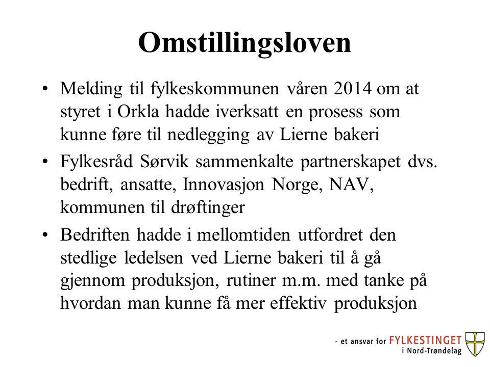Omstillingsloven Melding til fylkeskommunen våren 2014 om at styret i Orkla hadde iverksatt en prosess som kunne føre til nedlegging av Lierne bakeri Fylkesråd Sørvik sammenkalte partnerskapet dvs.