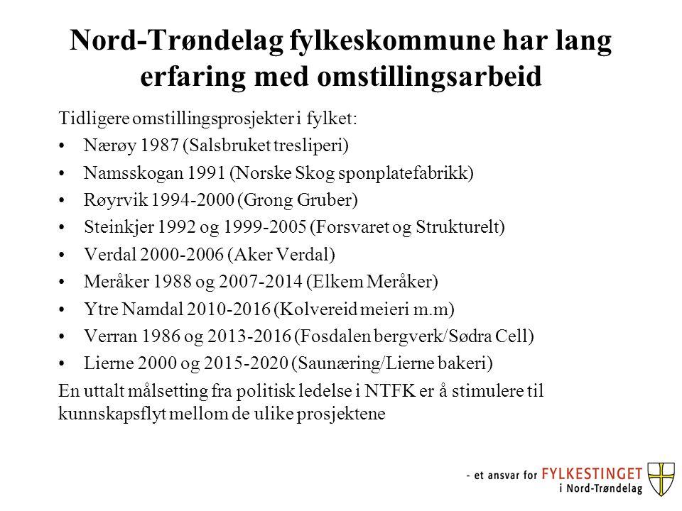 Nord-Trøndelag fylkeskommune har lang erfaring med omstillingsarbeid Tidligere omstillingsprosjekter i fylket: Nærøy 1987 (Salsbruket tresliperi) Namsskogan 1991 (Norske Skog sponplatefabrikk) Røyrvik 1994-2000 (Grong Gruber) Steinkjer 1992 og 1999-2005 (Forsvaret og Strukturelt) Verdal 2000-2006 (Aker Verdal) Meråker 1988 og 2007-2014 (Elkem Meråker) Ytre Namdal 2010-2016 (Kolvereid meieri m.m) Verran 1986 og 2013-2016 (Fosdalen bergverk/Sødra Cell) Lierne 2000 og 2015-2020 (Saunæring/Lierne bakeri) En uttalt målsetting fra politisk ledelse i NTFK er å stimulere til kunnskapsflyt mellom de ulike prosjektene