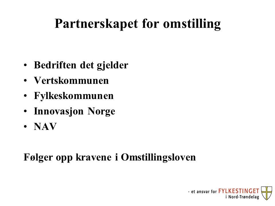 Partnerskapet for omstilling Bedriften det gjelder Vertskommunen Fylkeskommunen Innovasjon Norge NAV Følger opp kravene i Omstillingsloven