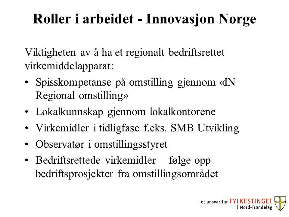 Roller i arbeidet - Innovasjon Norge Viktigheten av å ha et regionalt bedriftsrettet virkemiddelapparat: Spisskompetanse på omstilling gjennom «IN Regional omstilling» Lokalkunnskap gjennom lokalkontorene Virkemidler i tidligfase f.eks.
