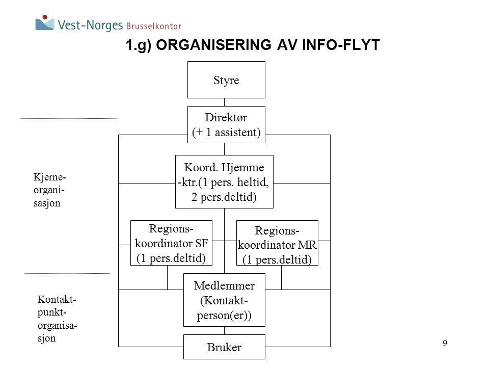 9 1.g) ORGANISERING AV INFO-FLYT Regions- koordinator MR (1 pers.deltid) Direktør (+ 1 assistent) Koord.