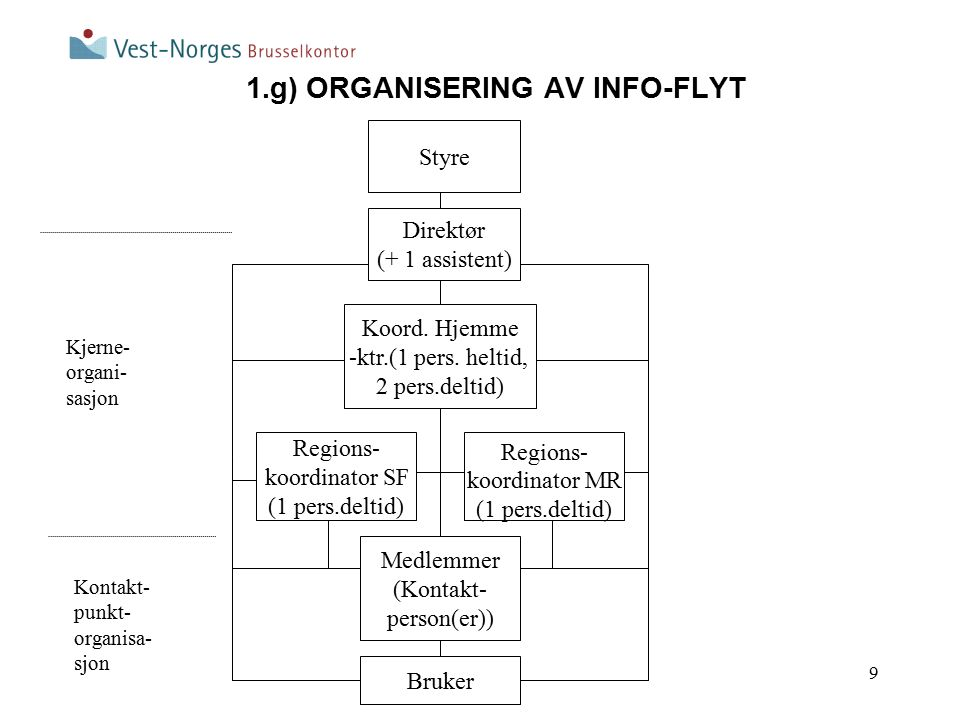 9 1.g) ORGANISERING AV INFO-FLYT Regions- koordinator MR (1 pers.deltid) Direktør (+ 1 assistent) Koord. Hjemme -ktr.(1 pers. heltid, 2 pers.deltid) R