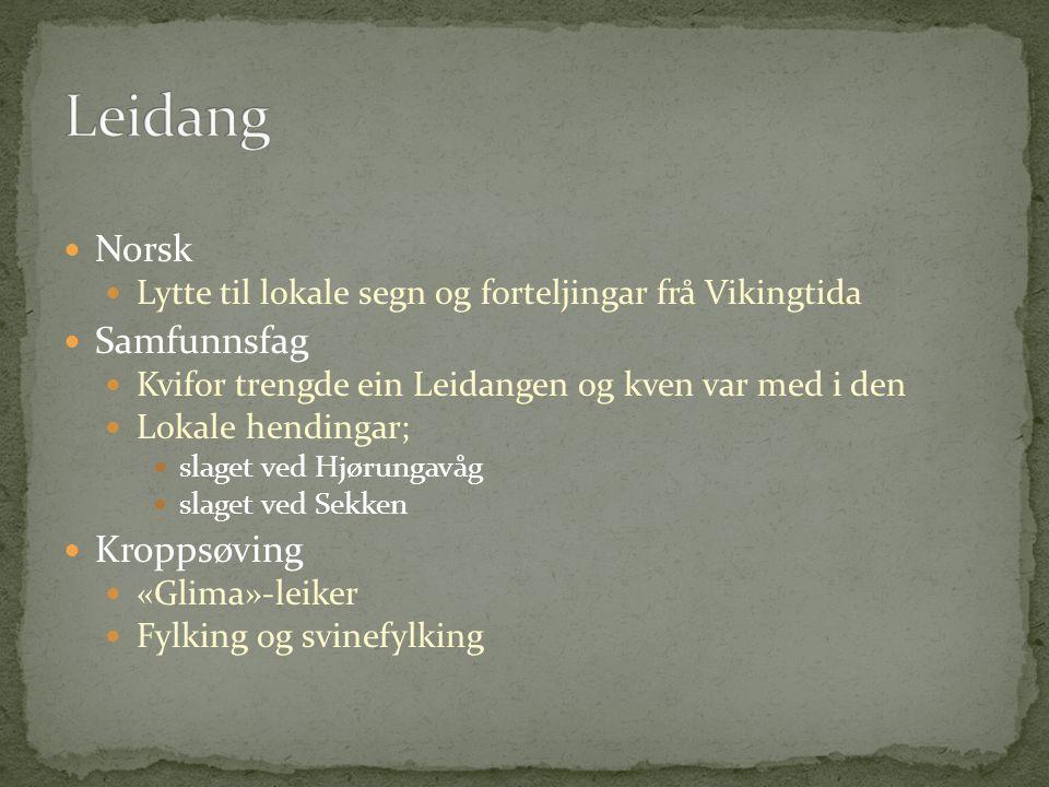 Norsk Lytte til lokale segn og forteljingar frå Vikingtida Samfunnsfag Kvifor trengde ein Leidangen og kven var med i den Lokale hendingar; slaget ved Hjørungavåg slaget ved Sekken Kroppsøving «Glima»-leiker Fylking og svinefylking