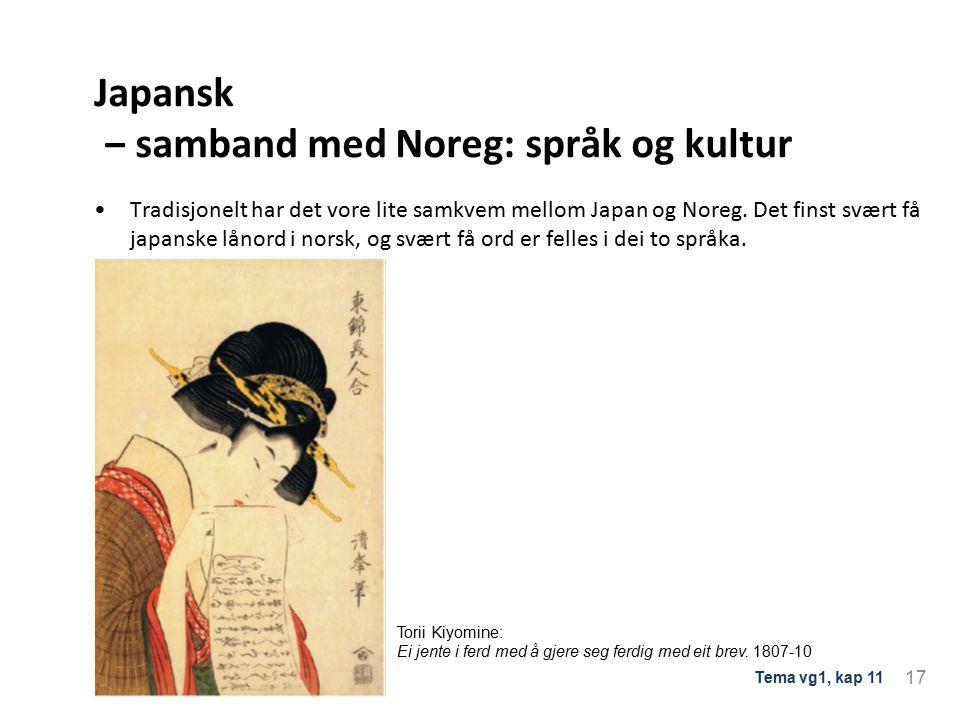 Japansk ‒ samband med Noreg: språk og kultur Tradisjonelt har det vore lite samkvem mellom Japan og Noreg.