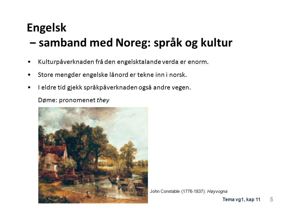 Engelsk ‒ samband med Noreg: språk og kultur Kulturpåverknaden frå den engelsktalande verda er enorm.