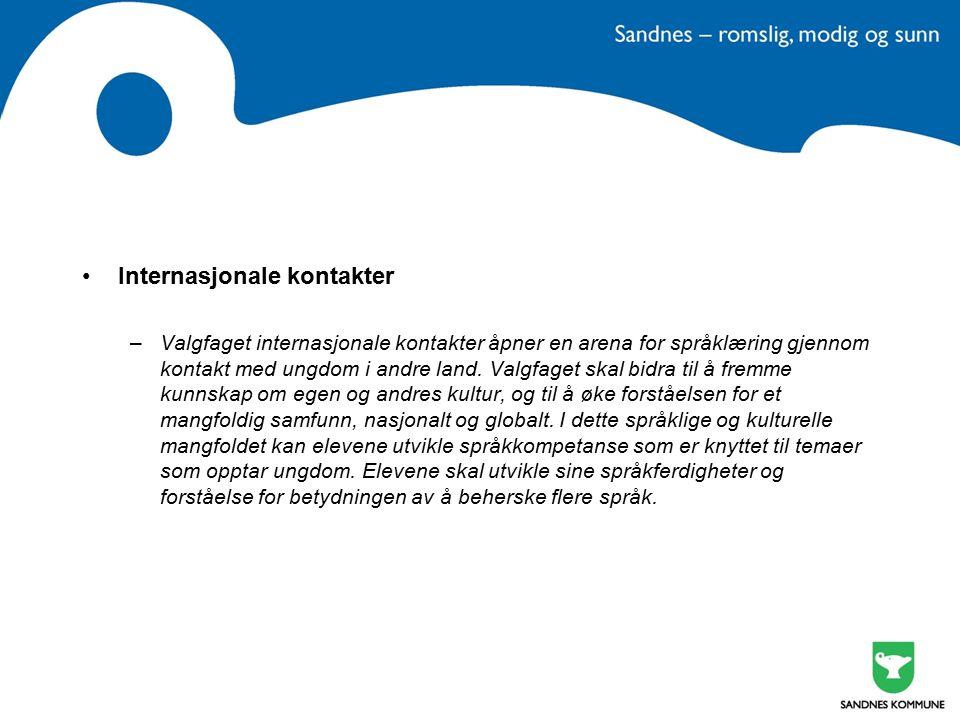 Internasjonale kontakter –Valgfaget internasjonale kontakter åpner en arena for språklæring gjennom kontakt med ungdom i andre land.