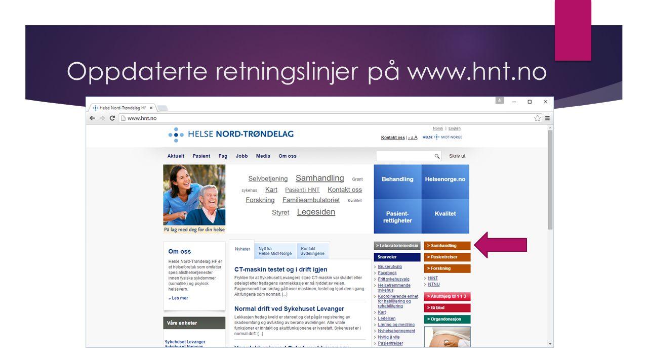 Oppdaterte retningslinjer på www.hnt.no