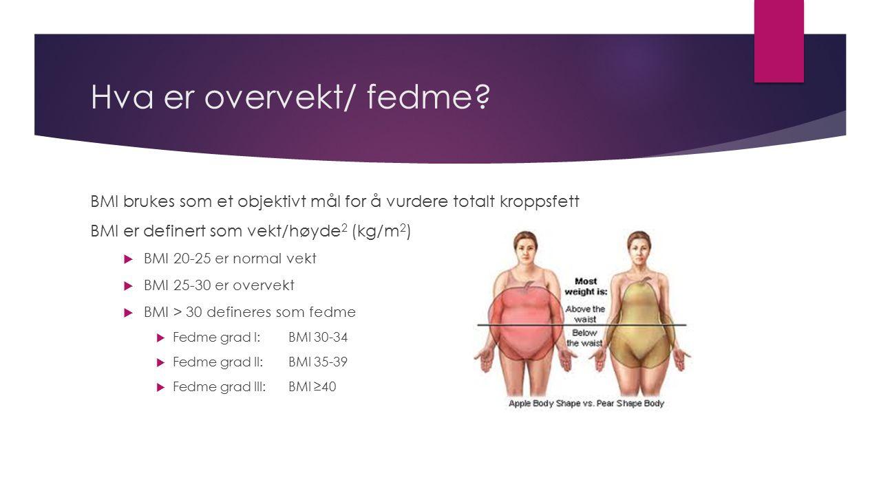 Hva er overvekt/ fedme? BMI brukes som et objektivt mål for å vurdere totalt kroppsfett BMI er definert som vekt/høyde 2 (kg/m 2 )  BMI 20-25 er norm