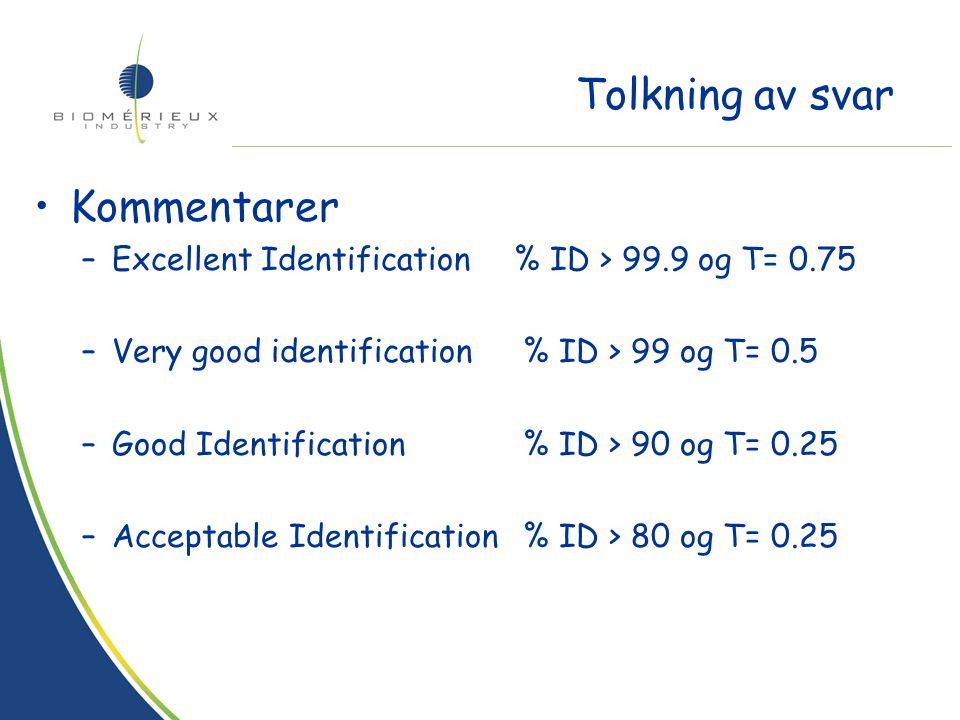 Hvert resultat har en tilhørende kommentar –Valgt på bakgrunn av % ID og T- indeks –Uttrykker påliteligheten til svaret Vurdering av resultatet avhenger av kommentaren –Må vurderes før man vurderer de enkelte mulighetene –Aldri aksepter et svar som ikke har en kommentar bedre eller lik acceptable identification uten tilleggstester Tolkning av svar