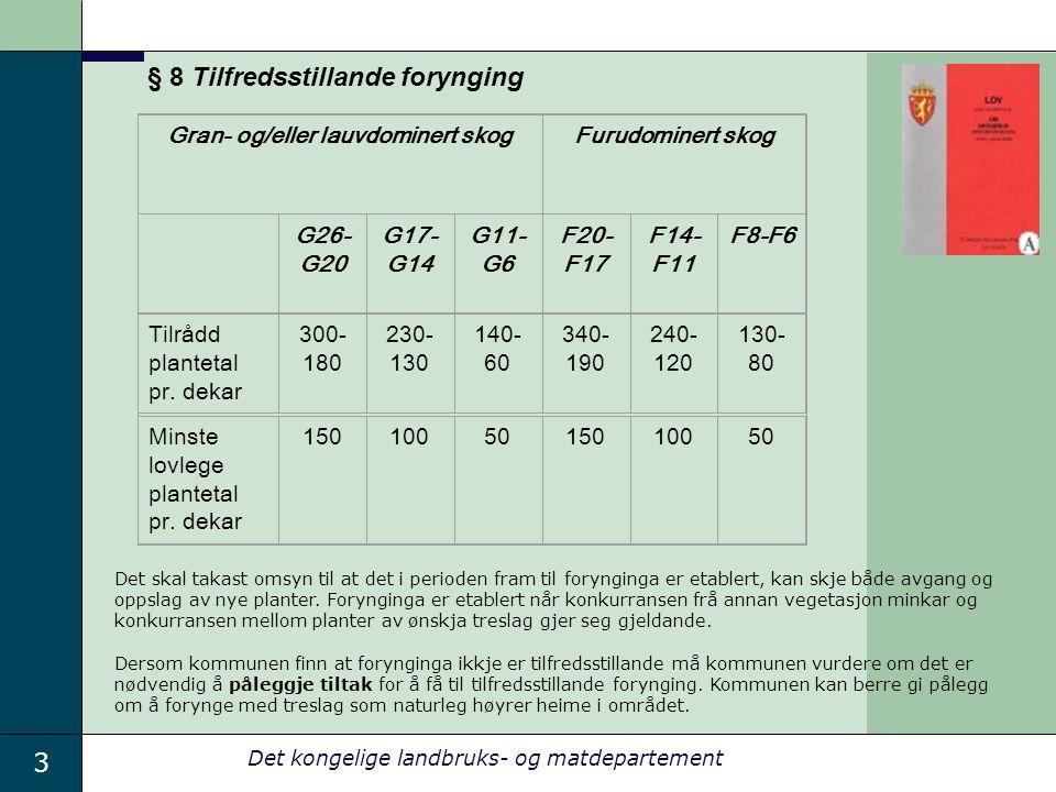 3 Det kongelige landbruks- og matdepartement Gran- og/eller lauvdominert skogFurudominert skog G26- G20 G17- G14 G11- G6 F20- F17 F14- F11 F8-F6 Tilrådd plantetal pr.