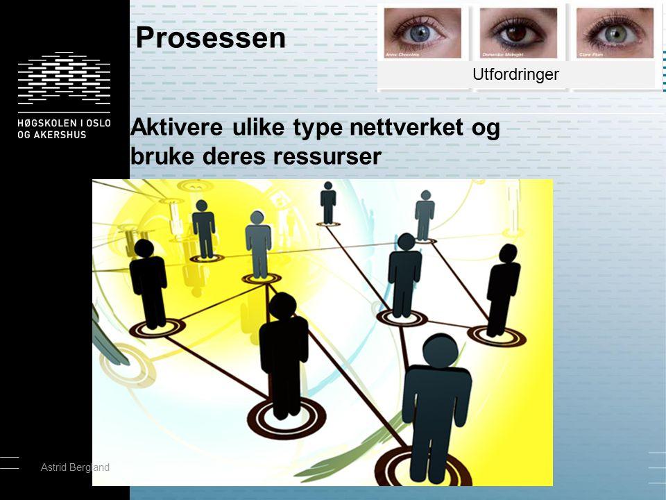 Aktivere ulike type nettverket og bruke deres ressurser Prosessen Astrid Bergland Utfordringer