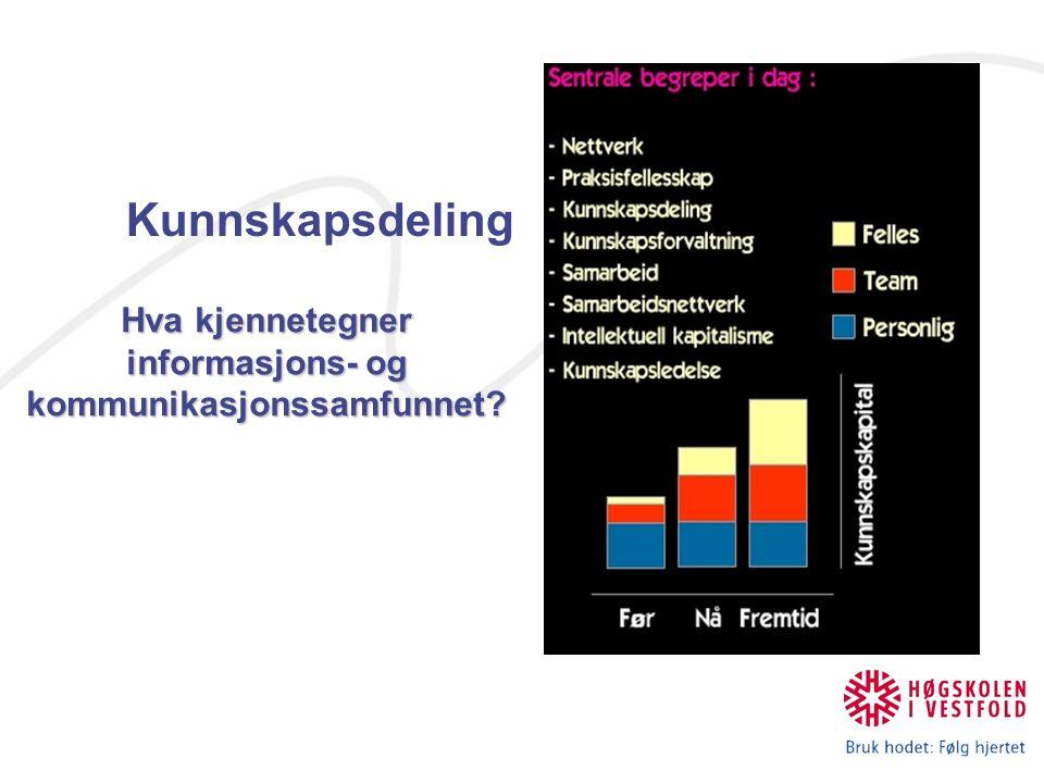 Kunnskapsdeling Hva kjennetegner informasjons- og kommunikasjonssamfunnet?
