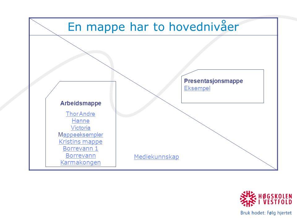 En mappe har to hovednivåer Mediekunnskap Arbeidsmappe Thor Andre Hanne Victoria Thor Andre Hanne Victoria Mappeeksempler Kristins mappeappeeksempler