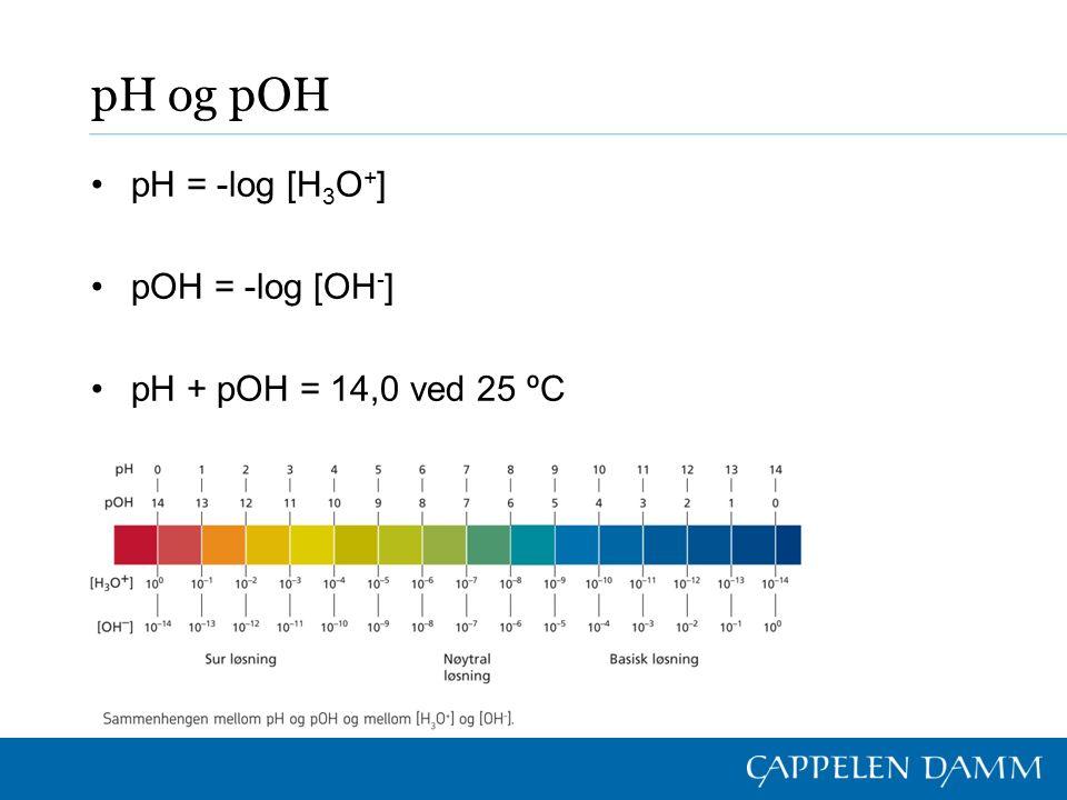 pH og pOH pH = -log [H 3 O + ] pOH = -log [OH - ] pH + pOH = 14,0 ved 25 ºC