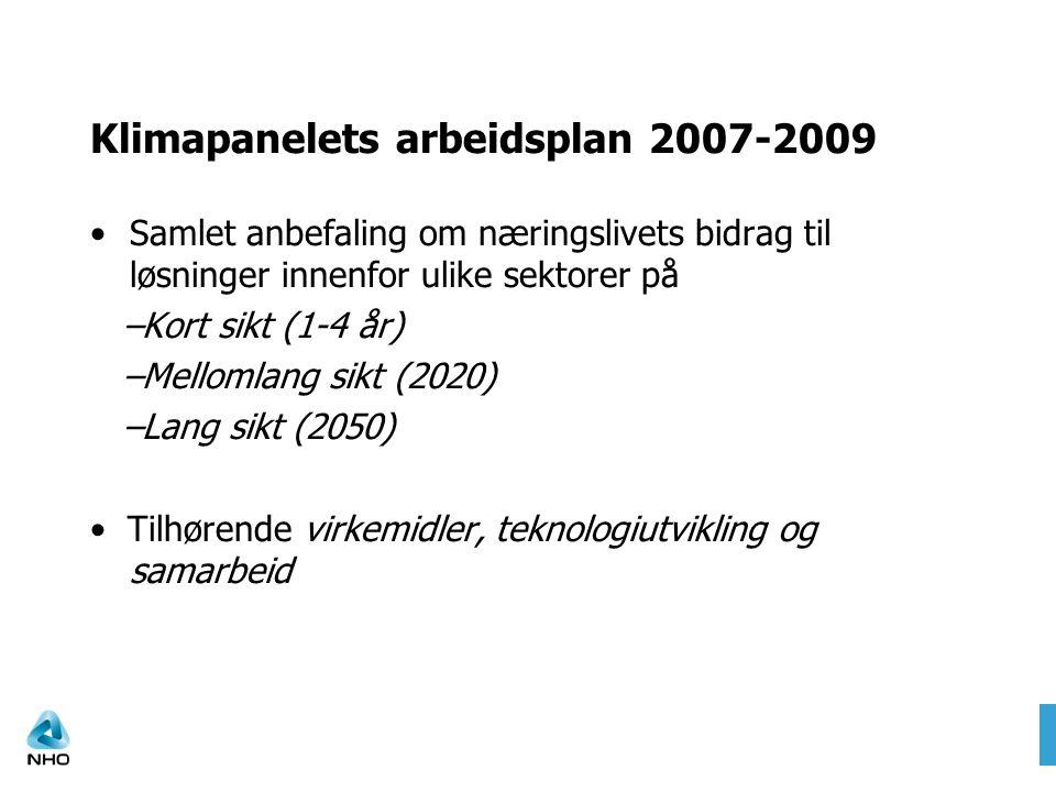 Klimapanelets arbeidsplan 2007-2009 Samlet anbefaling om næringslivets bidrag til løsninger innenfor ulike sektorer på –Kort sikt (1-4 år) –Mellomlang sikt (2020) –Lang sikt (2050) Tilhørende virkemidler, teknologiutvikling og samarbeid