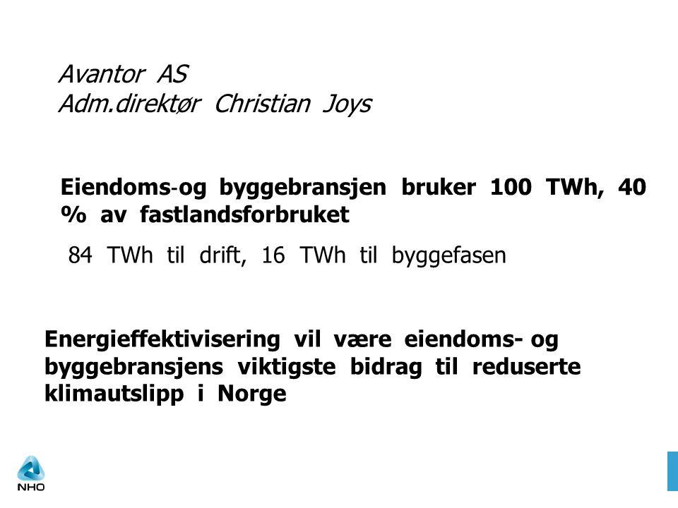 Avantor AS Adm.direktør Christian Joys Eiendoms ‐ og byggebransjen bruker 100 TWh, 40 % av fastlandsforbruket 84 TWh til drift, 16 TWh til byggefasen