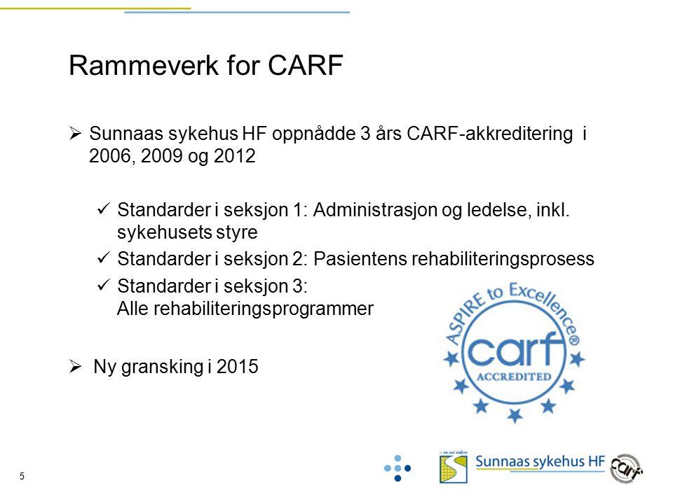 5 Rammeverk for CARF  Sunnaas sykehus HF oppnådde 3 års CARF-akkreditering i 2006, 2009 og 2012 Standarder i seksjon 1: Administrasjon og ledelse, inkl.