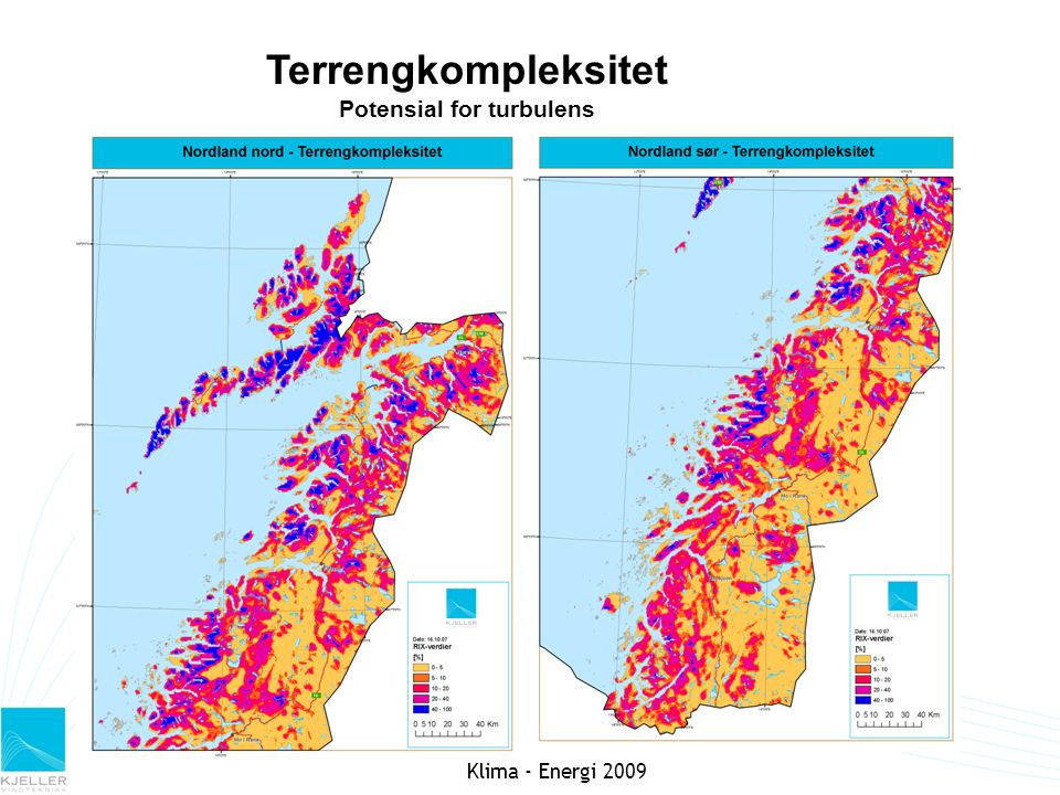 Terrengkompleksitet Potensial for turbulens Klima - Energi 2009