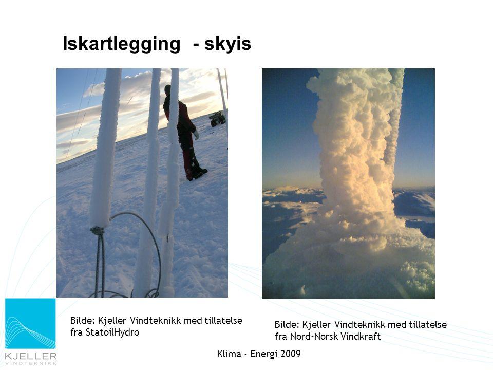 Iskartlegging - skyis Bilde: Kjeller Vindteknikk med tillatelse fra Nord-Norsk Vindkraft Bilde: Kjeller Vindteknikk med tillatelse fra StatoilHydro Kl