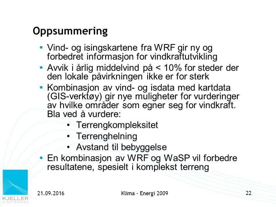 21.09.2016Klima - Energi 2009 22 Oppsummering  Vind- og isingskartene fra WRF gir ny og forbedret informasjon for vindkraftutvikling  Avvik i årlig