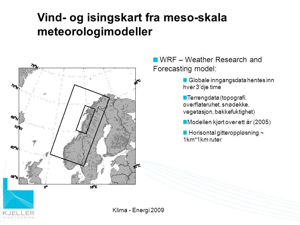 21.09.2016 4 Mesoskala modellering  Utgangsdata:  Tidsserier for vind, temperatur og fuktighet, skydekke for alle gitterpunkt med 1km avstand i flere høydenivåer  Data fra modellen kan benyttes som inngangsdata til mikroskala modeller som WAsP for å simulere et vindparkområde i større detalj.