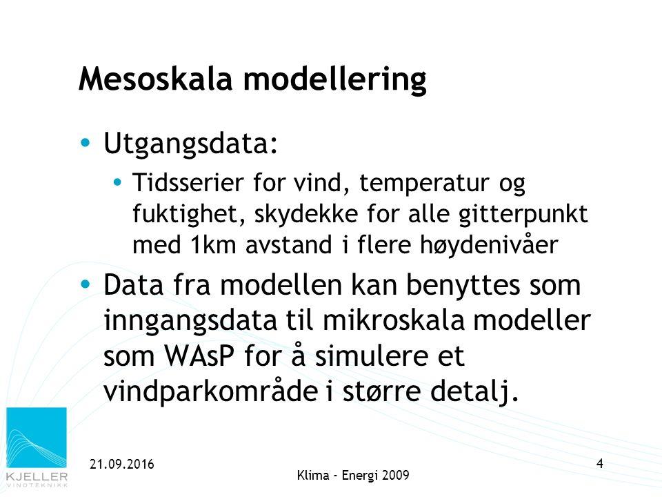 21.09.2016 4 Mesoskala modellering  Utgangsdata:  Tidsserier for vind, temperatur og fuktighet, skydekke for alle gitterpunkt med 1km avstand i fler