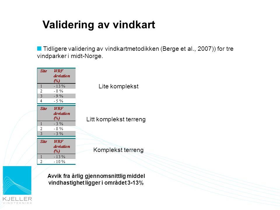 Validering av vindkart Tidligere validering av vindkartmetodikken (Berge et al., 2007)) for tre vindparker i midt-Norge. Lite komplekst Litt komplekst