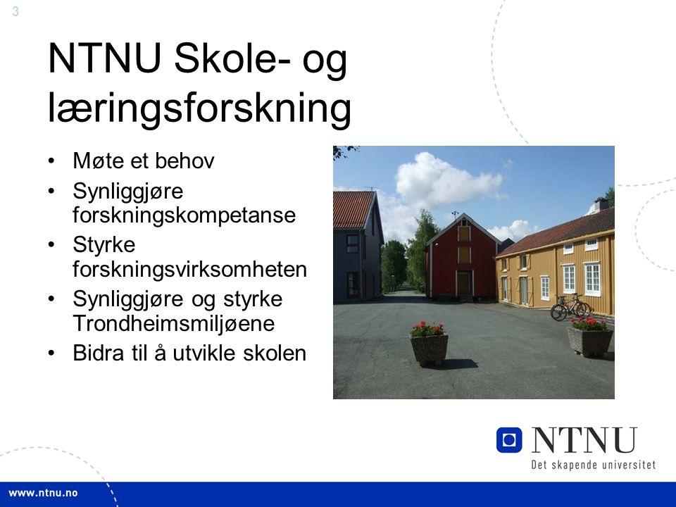 3 NTNU Skole- og læringsforskning Møte et behov Synliggjøre forskningskompetanse Styrke forskningsvirksomheten Synliggjøre og styrke Trondheimsmiljøene Bidra til å utvikle skolen
