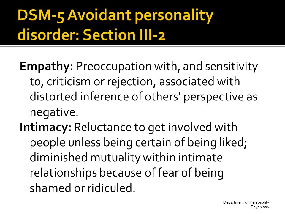 Three or more of the following personality traits 1.