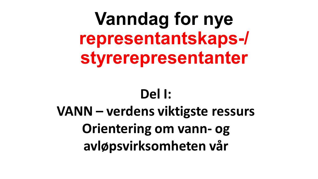 Vanndag for nye representantskaps-/ styrerepresentanter Del I: VANN – verdens viktigste ressurs Orientering om vann- og avløpsvirksomheten vår