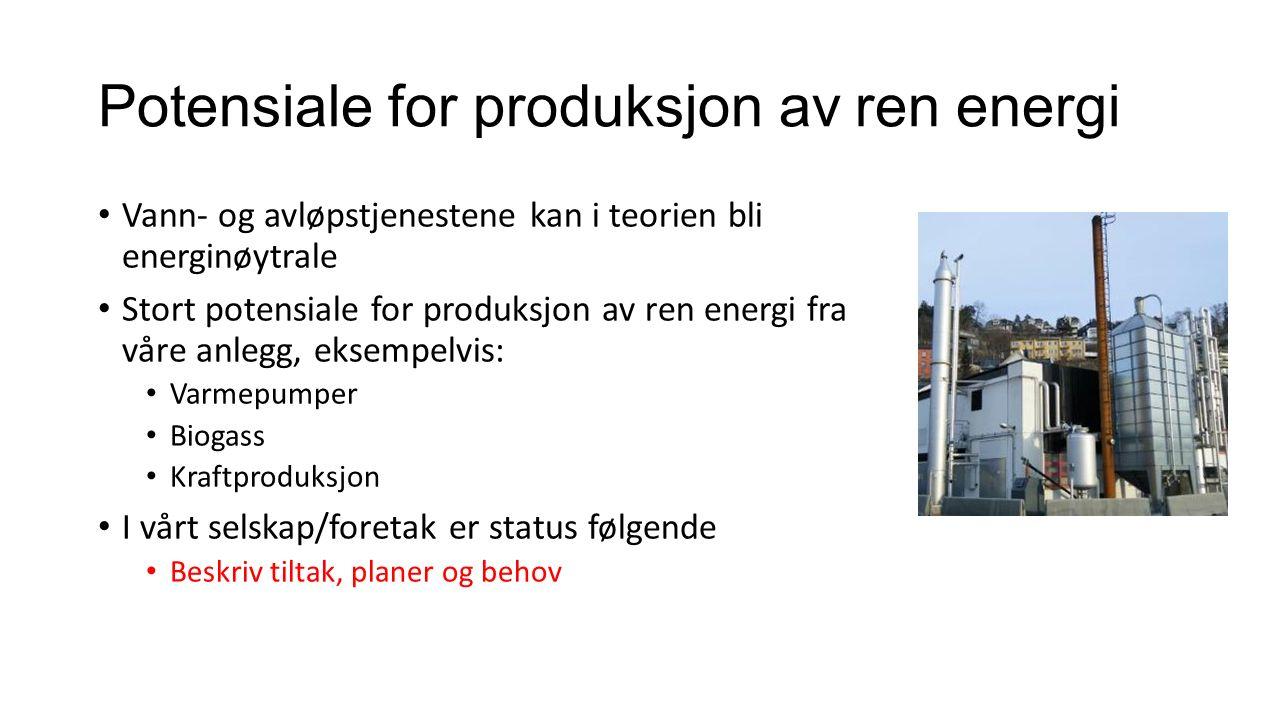 Potensiale for produksjon av ren energi Vann- og avløpstjenestene kan i teorien bli energinøytrale Stort potensiale for produksjon av ren energi fra v