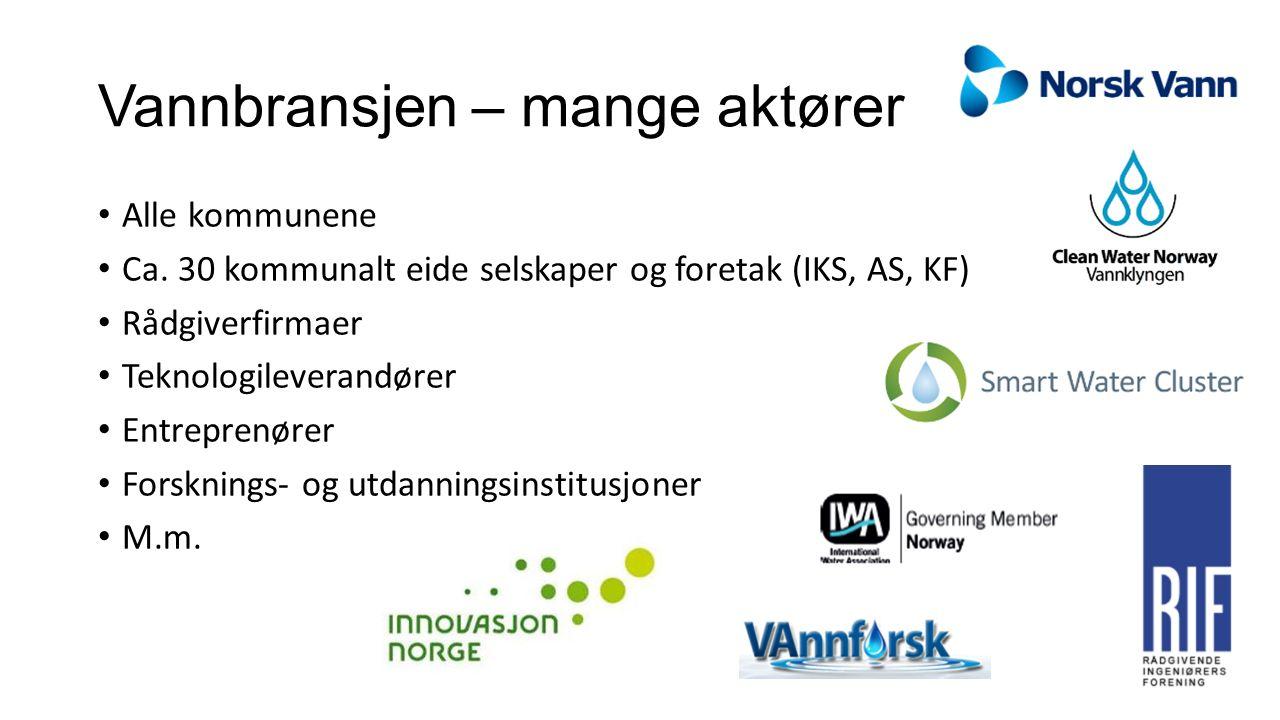 Vannbransjen – mange aktører Alle kommunene Ca. 30 kommunalt eide selskaper og foretak (IKS, AS, KF) Rådgiverfirmaer Teknologileverandører Entreprenør