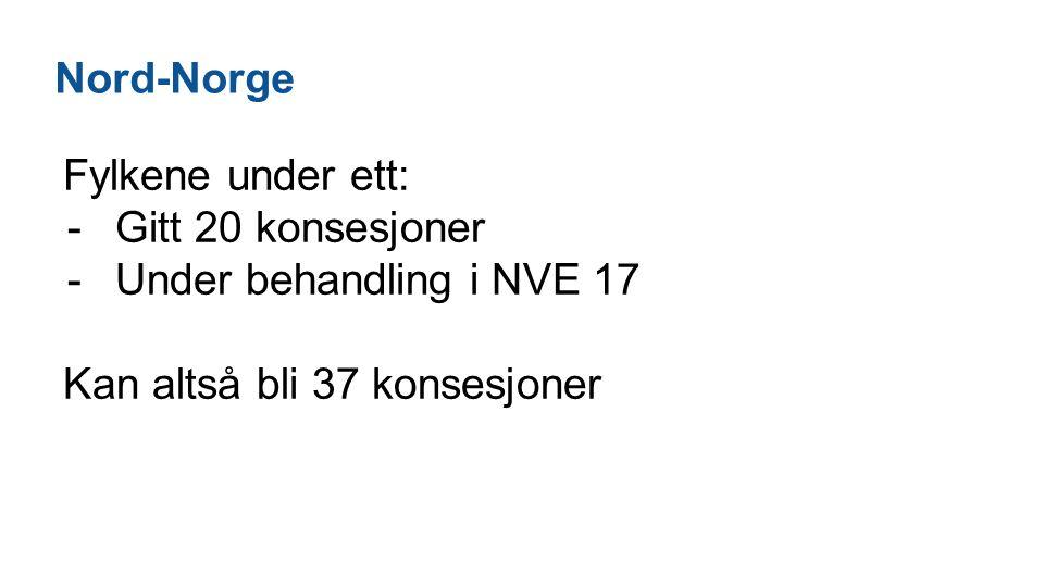 Nord-Norge Fylkene under ett: -Gitt 20 konsesjoner -Under behandling i NVE 17 Kan altså bli 37 konsesjoner