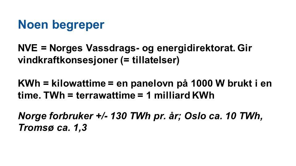 Noen begreper NVE = Norges Vassdrags- og energidirektorat. Gir vindkraftkonsesjoner (= tillatelser) KWh = kilowattime = en panelovn på 1000 W brukt i