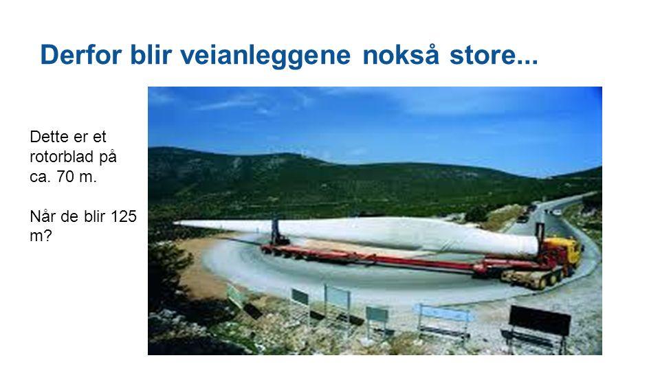 Derfor blir veianleggene nokså store... Dette er et rotorblad på ca. 70 m. Når de blir 125 m?