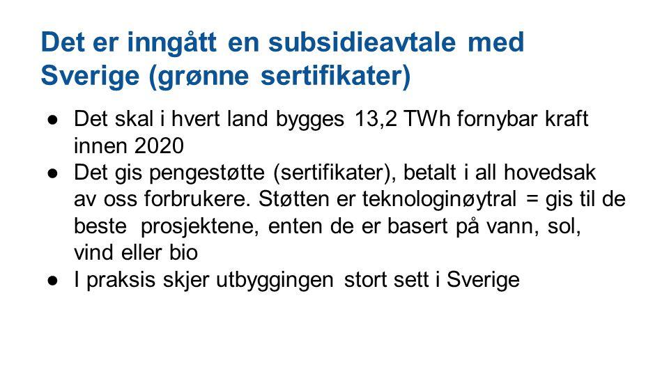 Det er inngått en subsidieavtale med Sverige (grønne sertifikater) ●Det skal i hvert land bygges 13,2 TWh fornybar kraft innen 2020 ●Det gis pengestøt