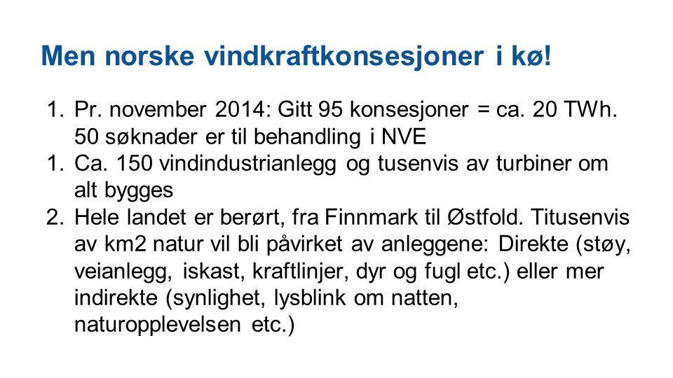Men norske vindkraftkonsesjoner i kø! 1.Pr. november 2014: Gitt 95 konsesjoner = ca. 20 TWh. 50 søknader er til behandling i NVE 1.Ca. 150 vindindustr