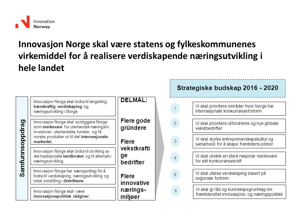 Innovasjon Norge skal bidra til langsiktig, bærekraftig verdiskaping og næringsutvikling i Norge. Innovasjon Norge skal være innovasjonspolitisk rådgi