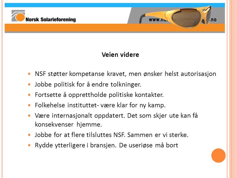 Veien videre NSF støtter kompetanse kravet, men ønsker helst autorisasjon Jobbe politisk for å endre tolkninger. Fortsette å opprettholde politiske ko