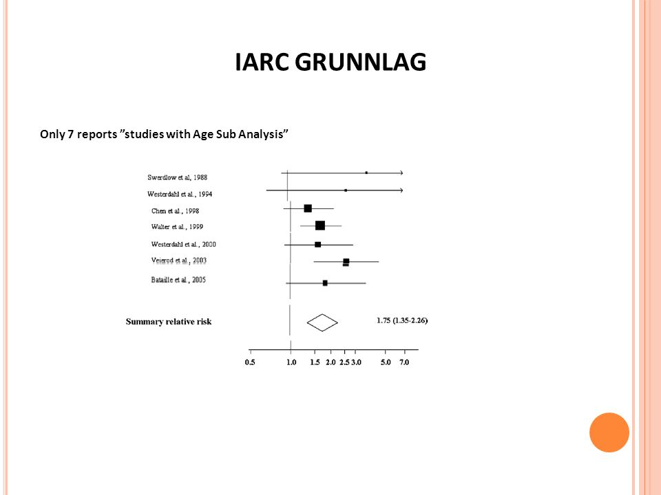 IARC GRUNNLAG Only 7 reports studies with Age Sub Analysis