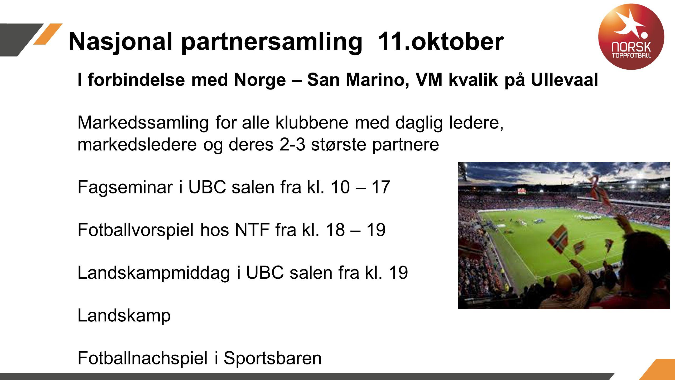I forbindelse med Norge – San Marino, VM kvalik på Ullevaal Markedssamling for alle klubbene med daglig ledere, markedsledere og deres 2-3 største partnere Fagseminar i UBC salen fra kl.