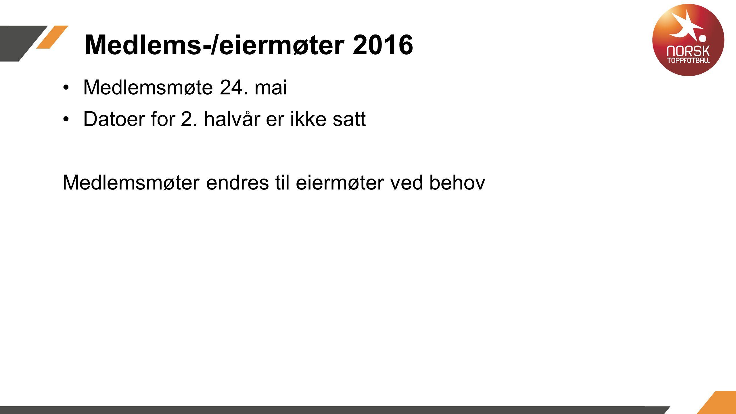 Medlems-/eiermøter 2016 Medlemsmøte 24. mai Datoer for 2.