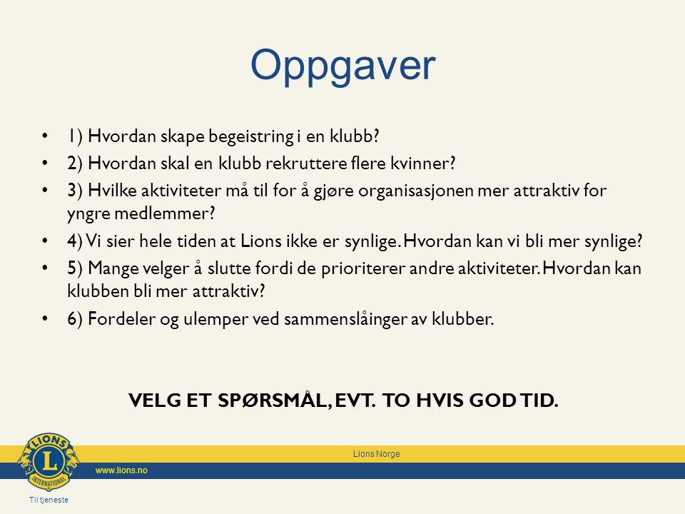 Til tjeneste Lions Norge www.lions.no Oppgaver 1) Hvordan skape begeistring i en klubb.