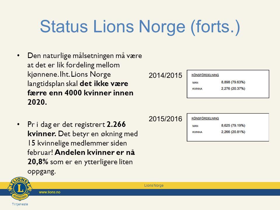 Til tjeneste Lions Norge www.lions.no Status Lions Norge (forts.) Prosjektet Kvinner i Lions er nå inkludert i GMTs arbeid.