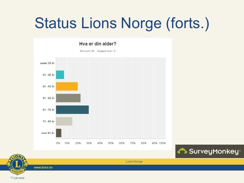 Til tjeneste Lions Norge www.lions.no Status Lions Norge (forts.)