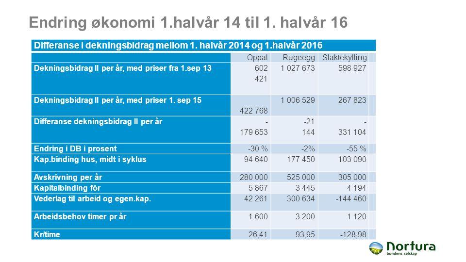Endring økonomi 1.halvår 14 til 1. halvår 16 Differanse i dekningsbidrag mellom 1. halvår 2014 og 1.halvår 2016 OppalRugeeggSlaktekylling Dekningsbidr